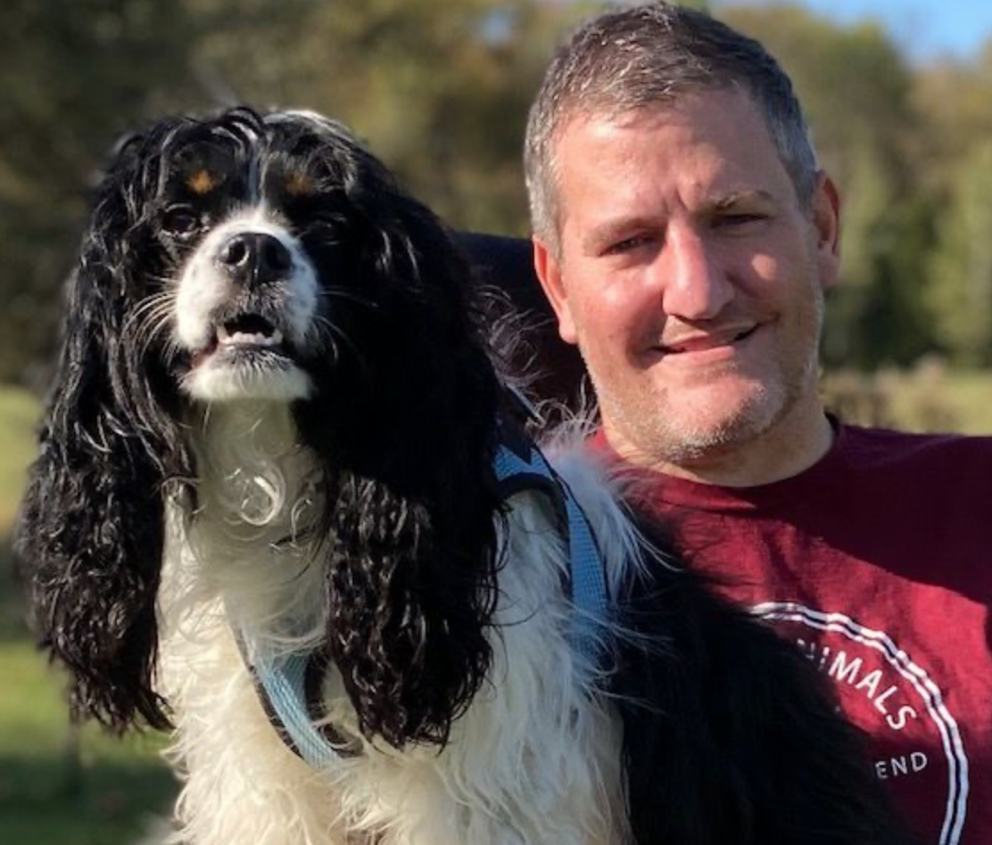 disabled man with dog